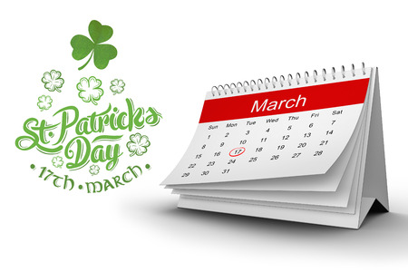 17th of march: Shamrock against st patricks day greeting
