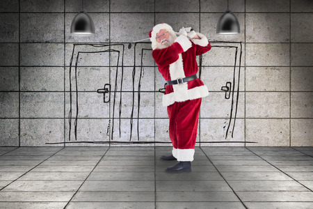 closed club: Santa playing golf against three doors in grey room