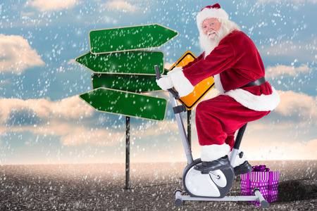 home trainer: Santa uses a home trainer against two types of empty signposts