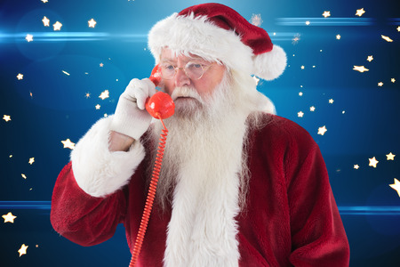 lucero: Santa on his red phone against bright star pattern on blue