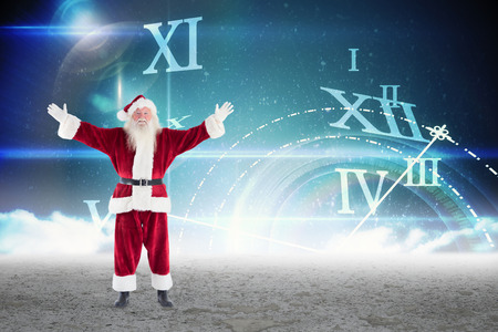 numeral: Santa with arms out against roman numeral clock in desert