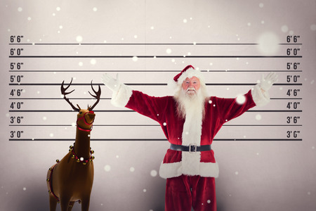 father in law: Jolly santa opens his arms to camera against mug shot background