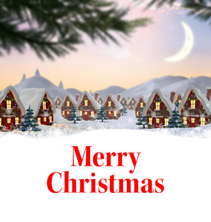 christmas village: Merry christmas against cute christmas village with trees Stock Photo