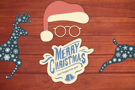 floorboard: Merry christmas message with santa against overhead of wooden planks