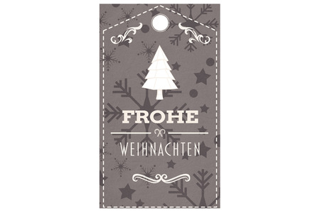 frohe: Frohe weihnachten banner against snowflake wallpaper pattern Stock Photo