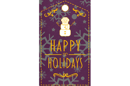 happy holidays: Happy holidays banner against snowflake wallpaper pattern