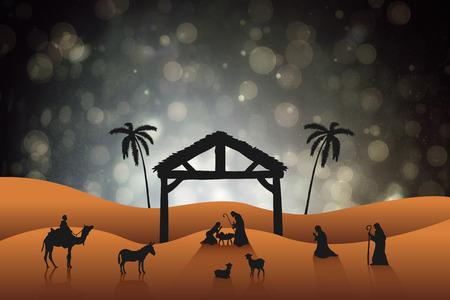 tableau: Nativity scene against black abstract light spot design