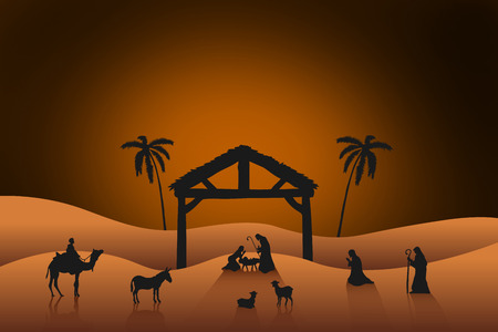 christmas in the city: Nativity scene against orange background with vignette Stock Photo
