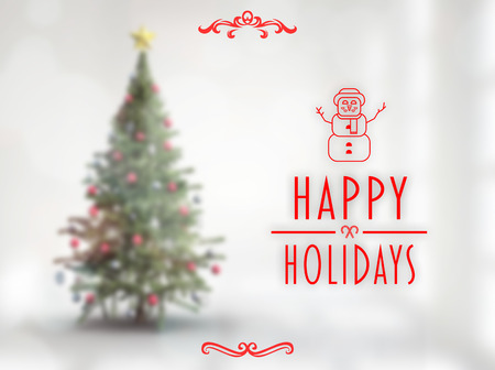 happy holidays: Happy holidays banner against blurry christmas tree in room