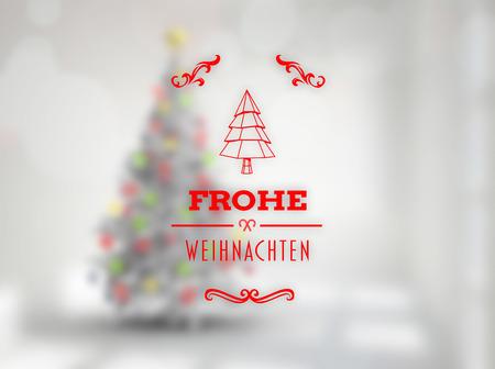 weihnachten: Frohe weihnachten banner against blurry christmas tree in room Stock Photo