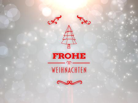 frohe: Frohe weihnachten banner against grey design with white stars