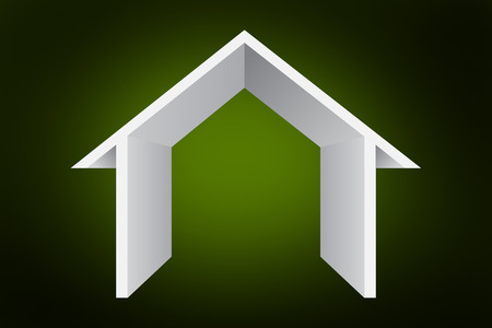 abode: House outline against green background with vignette Stock Photo