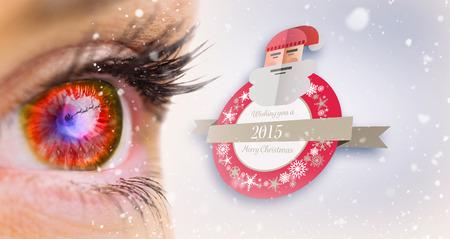 looking ahead: Red glowing eye looking ahead against purple vignette Stock Photo