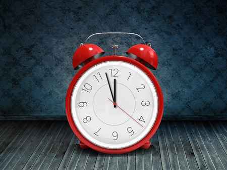 grimy: Alarm clock counting down to twelve against dark grimy room