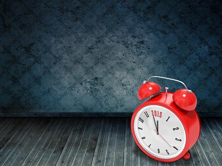grimy: 2015 in red alarm clock against dark grimy room