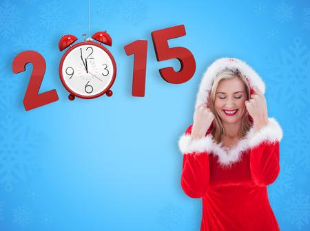 pere noel sexy: Blonds festive avec capuchon contre la conception de flocon de neige bleu Banque d'images