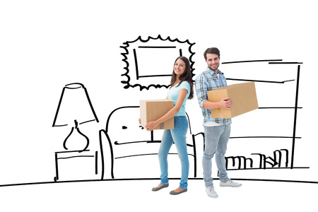 couple bathroom: Happy young couple with moving boxes against bathroom sketch Stock Photo
