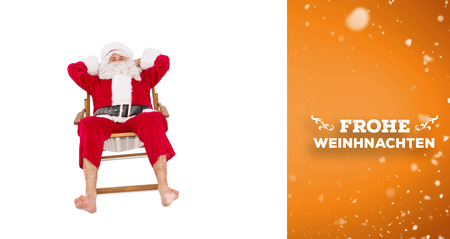 frohe: Happy santa relaxing on deckchair against orange vignette