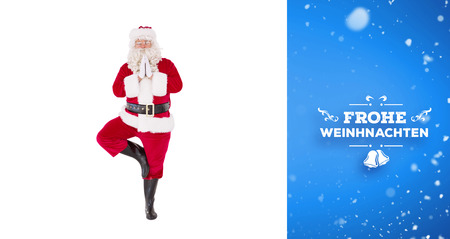 frohe: Santa claus in tree pose  against blue vignette