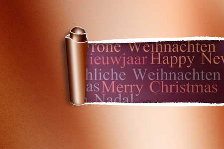 irish christmas: Rip in gold paper against holiday greetings in different languages Stock Photo