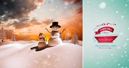 snow falling: Snow falling against snow family Stock Photo