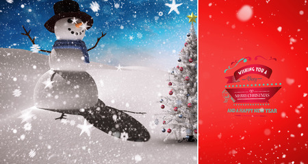 snow falling: Snow falling against christmas tree and snowman Stock Photo