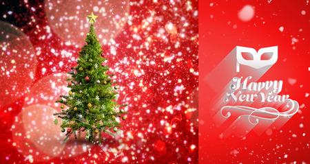 snow falling: Snow falling against christmas tree Stock Photo