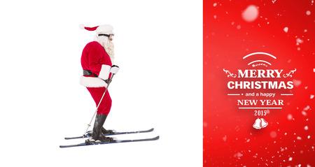 pere noel: Festive p�re no�l ski contre la vignette rouge Banque d'images
