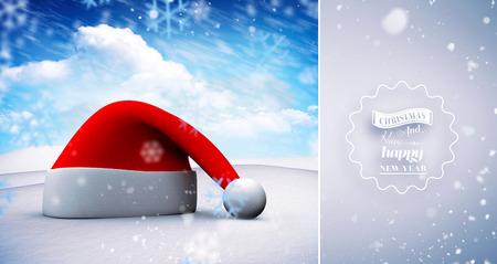 snow falling: Neve che cade contro il cappello della Santa