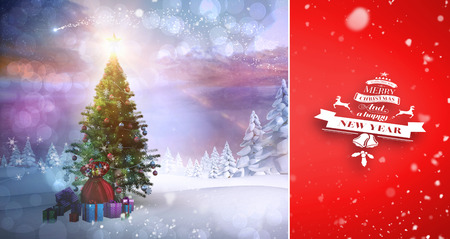 snow falling: Snow falling against christmas tree with gifts Stock Photo