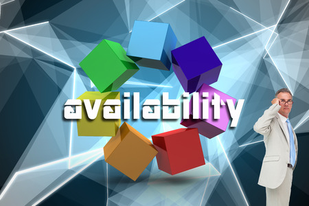 availability: The word availability and thinking businessman against abstract glowing black background