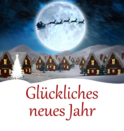 jahr: Glückliches neues jahr against santa delivery presents to village