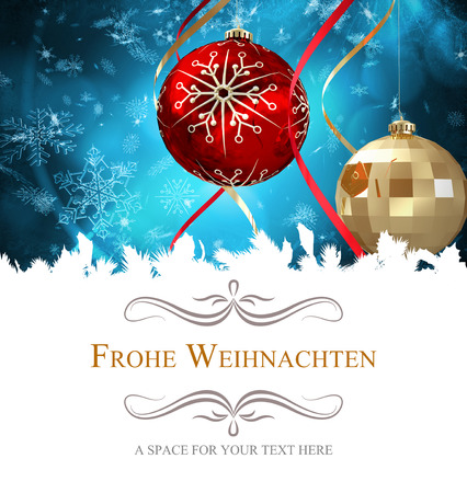frohe: border against hanging christmas decorations