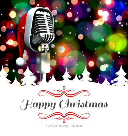 old time: border against microphone with santa hat Stock Photo