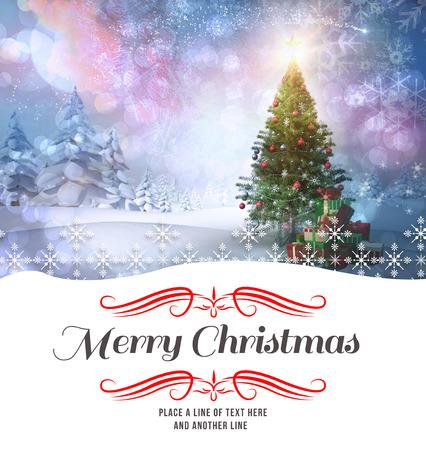 moños navideños: frontera contra el árbol de Navidad con regalos