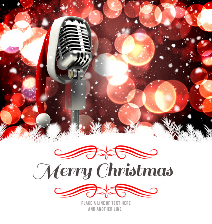 border against microphone with santa hat Stock Photo