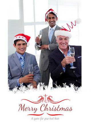 novelty: Confident businessmen wearing novelty Christmas hat against border