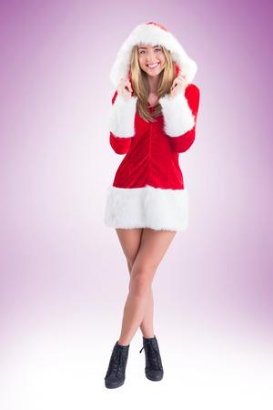 pere noel sexy: Jolie Santa Girl souriant � la cam�ra sur la vignette fond