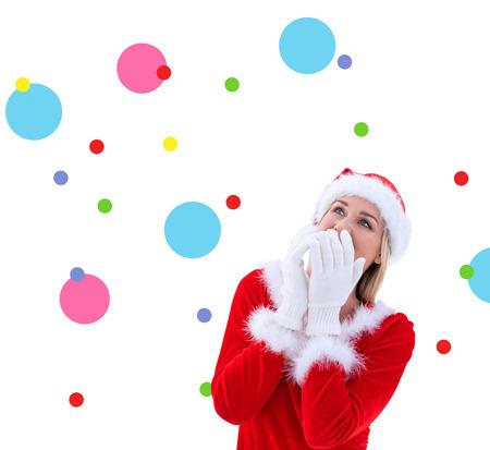 pere noel sexy: Blonds festive avec des gants blancs contre motif de points