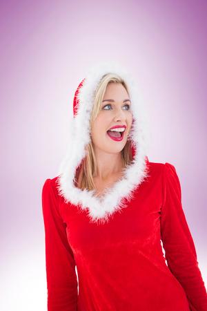 pere noel sexy: Blonds festives qui cherchent � le c�t� sur la vignette fond