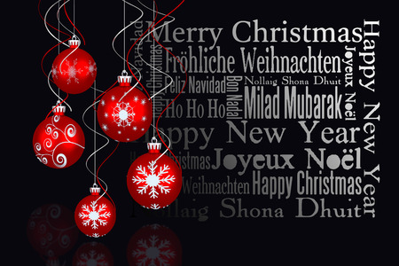 irish christmas: Digital hanging christmas bauble decoration  against black