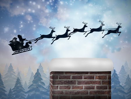 santa sleigh: Composite image of santa flying his sleigh against snow falling on fir tree forest