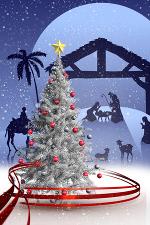 tableau: Composite image of christmas tree with falling snow