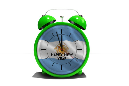 argentinian flag: Happy new year in green alarm clock against argentinian flag Stock Photo