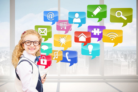 security technology: Happy pupil pointing the blackboard  against computing application icons Stock Photo