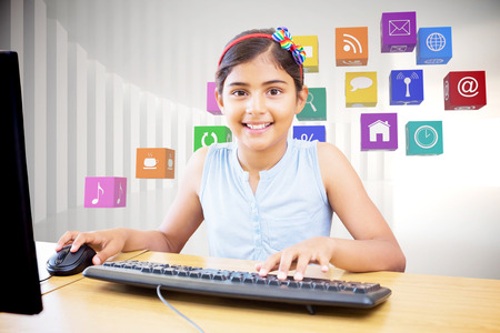 children learning: School kid on computer against white curved room