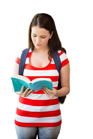 bookshelf digital: Student reading book in library against white background with vignette