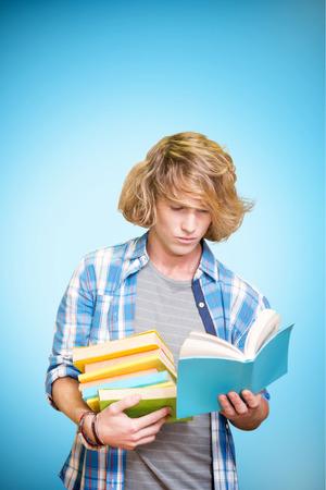 vignette: Student reading against blue background with vignette