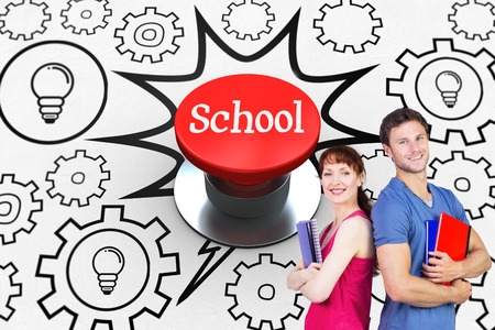 push button: The word school and two students both with notepads against digitally generated red push button Stock Photo