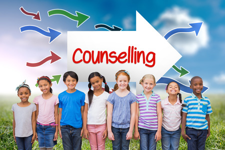 counselling: The word counselling and cute pupils smiling at camera in classroom against sunny landscape